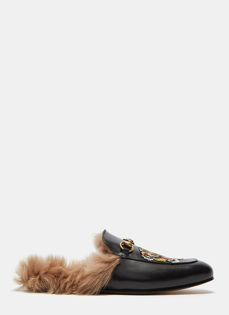 Princetown Tiger Embroidered Fur Slip-On Loafers