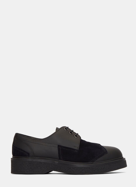 Suede Panelled Platform Derby Shoes