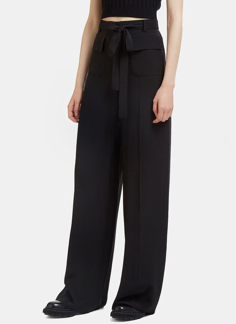 Wide Leg Crêpe de Chine Pants