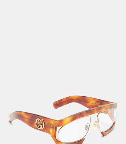 Rectangular Frame Acetate and Metal Sunglasses