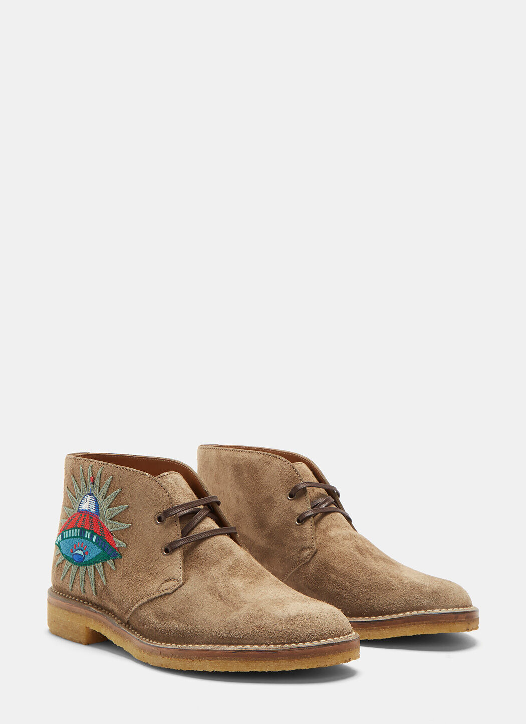 GUCCI Suede Embroidered Appliqué Ankle Boots In Beige in Colour: Camel-Brown