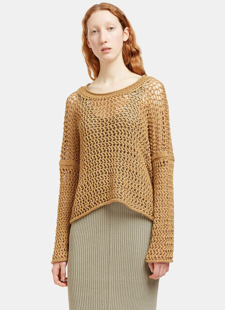 Oversized Open Knit Scoop Neck Sweater
