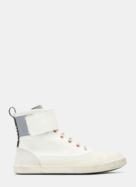 Aged Canvas Strapped High-Top Sneakers