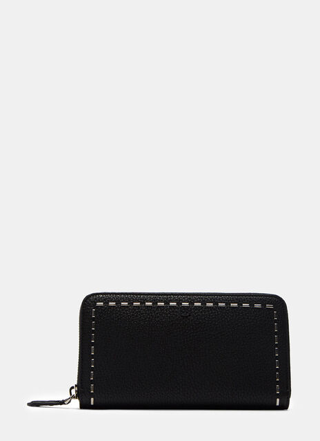 Romano Stapled Grained Leather Zipped Wallet