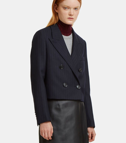 Jente Cropped Double-Breasted Pinstripe Jacket