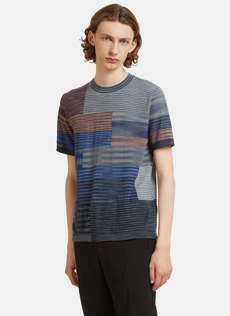 Square Striped Knit T-Shirt