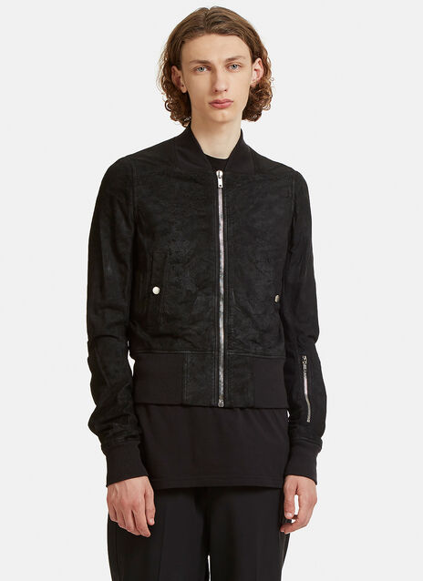 Brushed Suede Leather Bomber Jacket