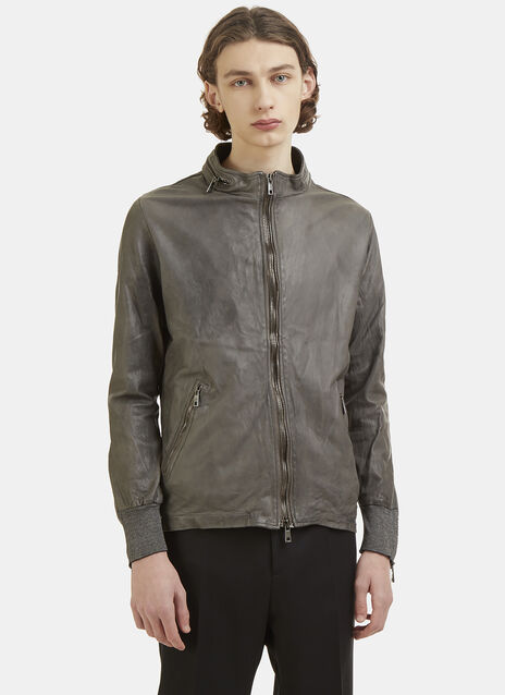 Leather Double Zip Bomber Jacket