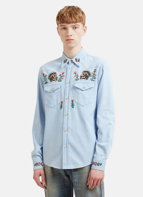 Gucci Embroidered Denim Shirt