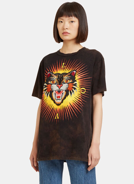 Embroidered Tiger Crew Neck T-Shirt