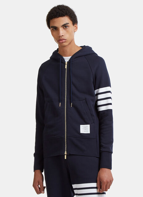 Thom Browne Thom Browne Zip Up Hoodie With Engineered 4 Bar In Classic Loop Back