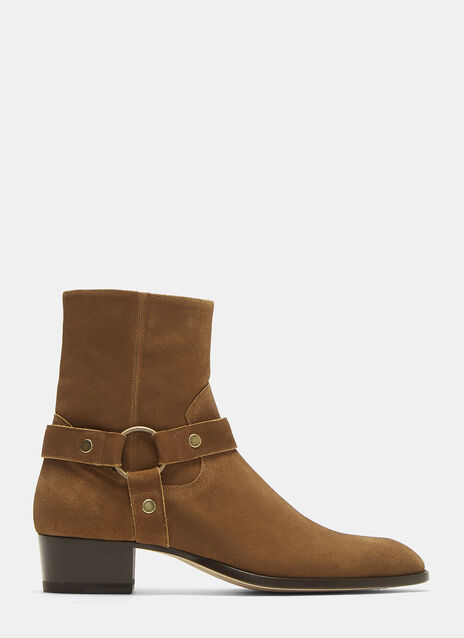 Saint Laurent Wyatt 40 Harness Suede Boots