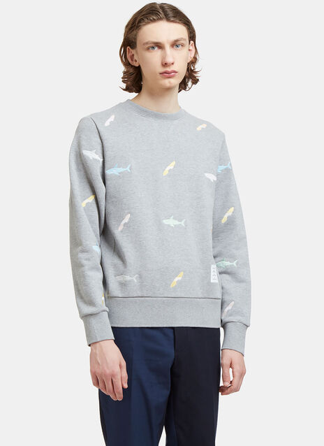 Shark Embroidered Zipped Sweater