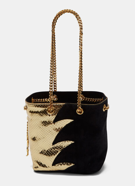 Emmanuelle Metallic Snakeskin and Suede Bucket Bag
