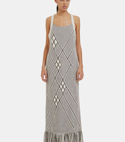 Long Racerback Fringed Knit Dress