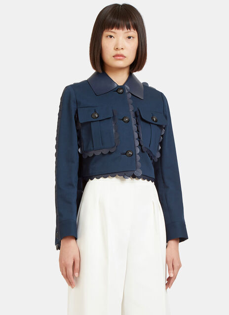 Scalloped Leather Cropped Front Twill Jacket