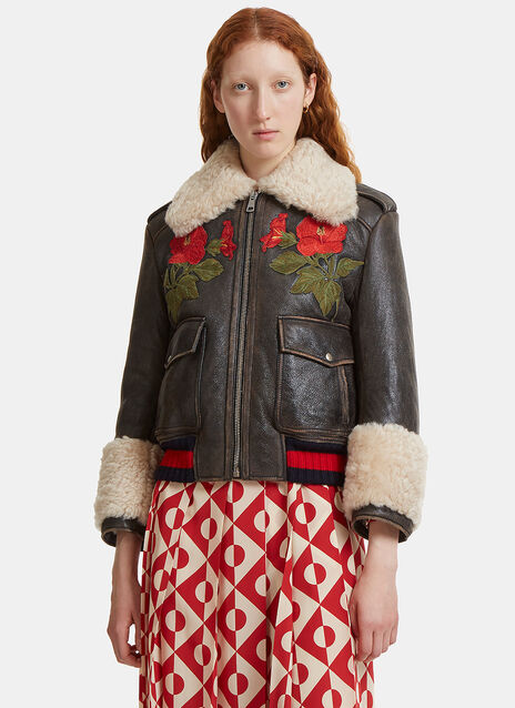 Flower Embroidered Shearling Leather Jacket