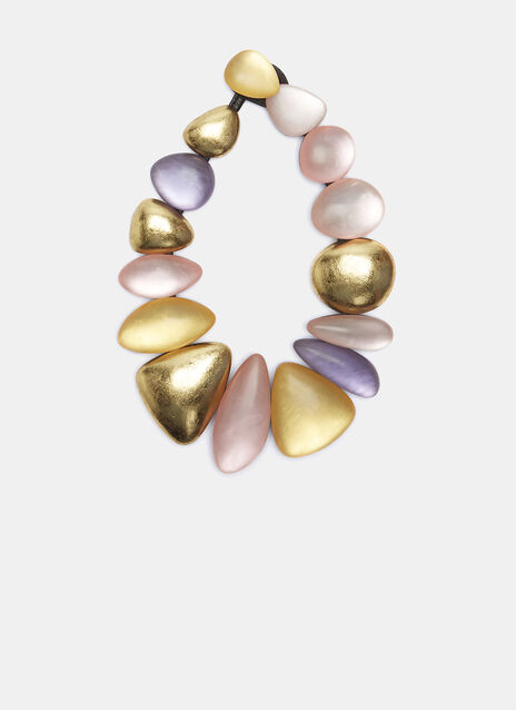 7717 Gold Leaf Painted Pebble Necklace