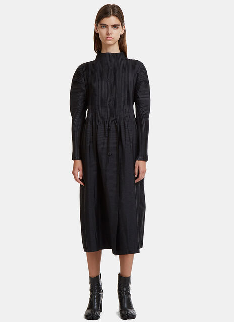 Button Down Random Pleats Dress