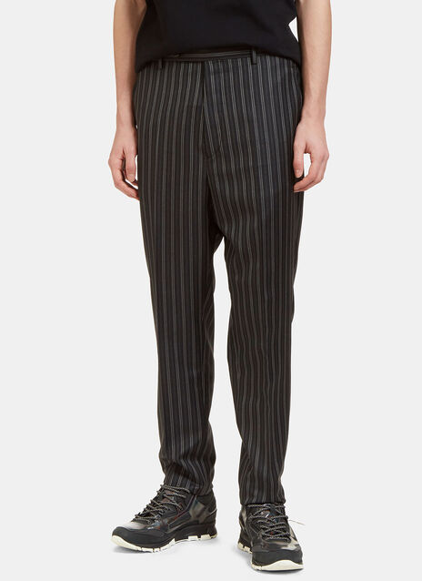 Topstitched Dashed Stripe Slim Leg Pants