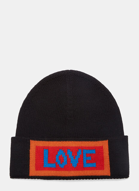 Love Intarsia Knit Beanie Hat