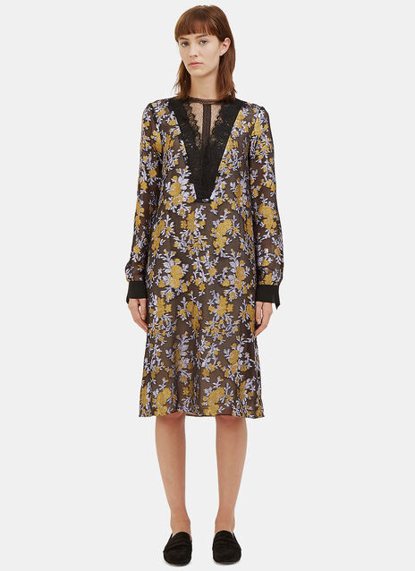 Mid-Length Metallic Floral Brocade Dress