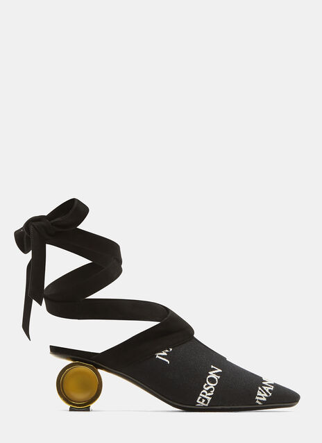 JW Anderson Embroidered Logo Cylinder Ball Heels