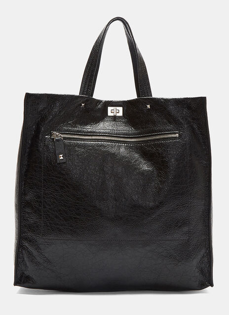 Pyramid Studded Grained Leather Tote Bag