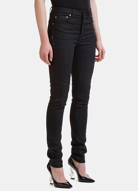 DO5 Star Embroidered Skinny Fit Jeans