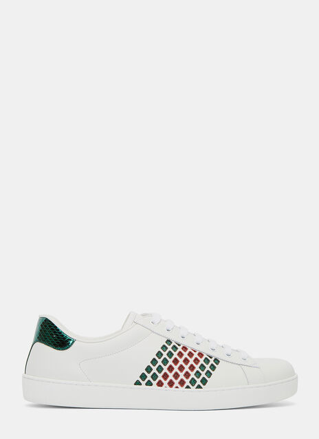 Ace Leather Low Metallic Cut-Out Sneakers