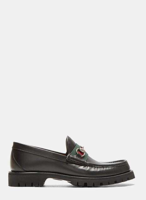 Striped Web Horsebit Leather Loafers