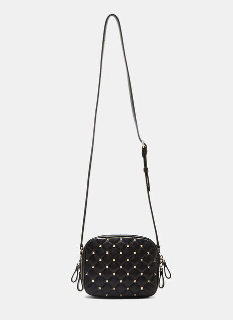 Diamond-Quilted Pyramid-Studded Crossbody Bag