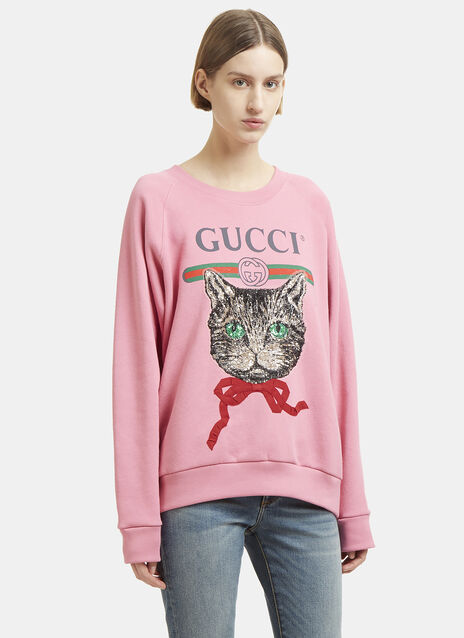 Gucci Logo Sequinned Mystic Cat Sweater