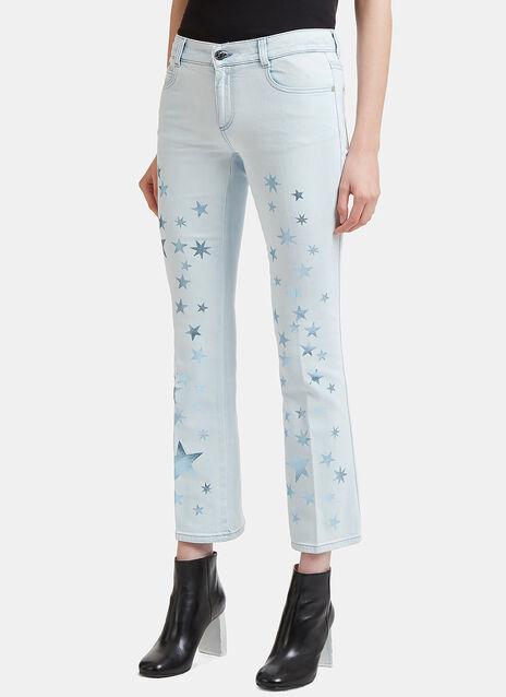 Star Printed Kick Flare Jeans