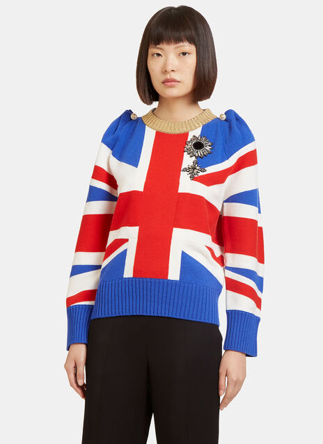 Union Jack Intarsia Wool Knit Top