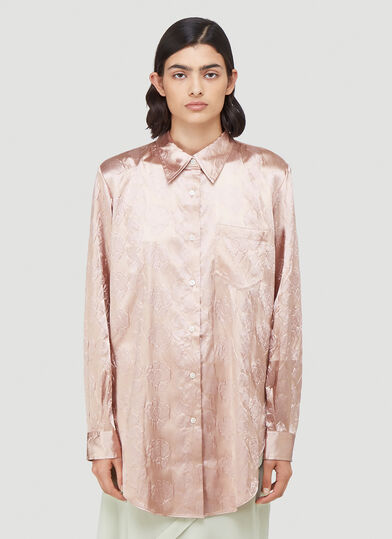 아크네 스튜디오 Acne Studios Metallic Jacquard Shirt in Pink