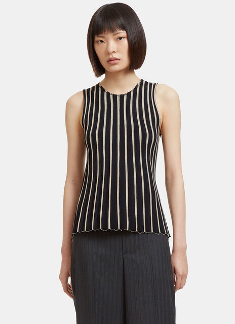 Raw Pinstriped Tank Top