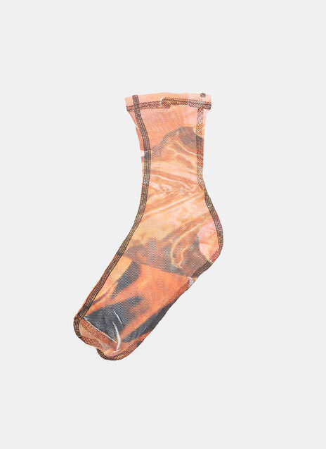 Printed Mesh Ankle Socks