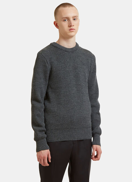 Ribbed Knit Crew Neck Sweater