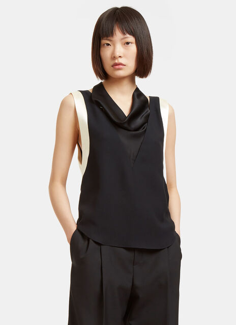 Satin Draped Sleeveless Top