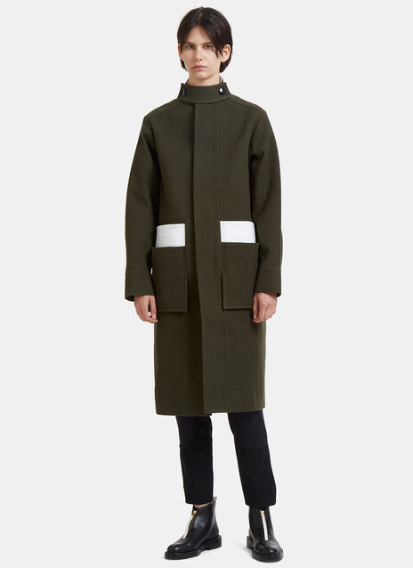 Contrast Vinyl Patch Military Coat