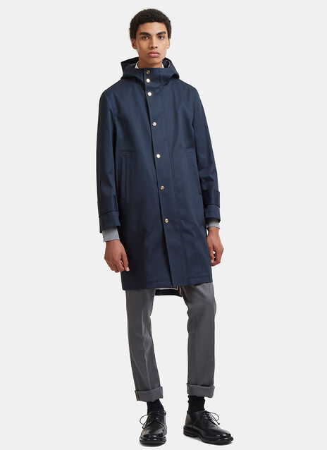 Hooded Snap Stud Mackintosh Parka Coat