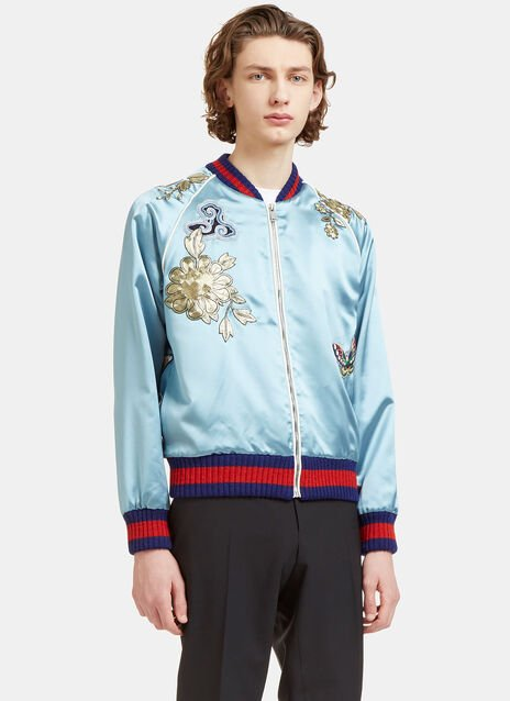 Gucci Embroidered Silk Teddy Bomber Jacket