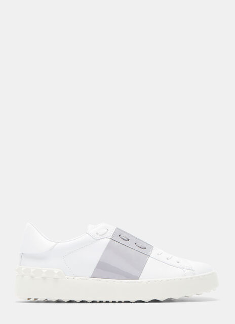 Contrast Patent Panel Stud Sneakers