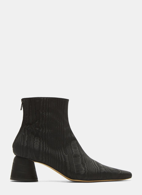 Moire Pointed Ankle Boots
