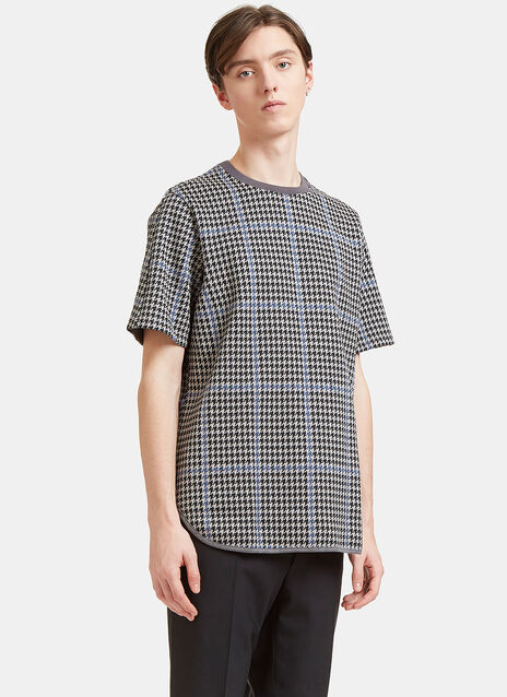 Oversized Houndstooth Woven T-Shirt
