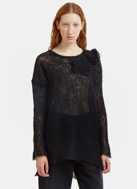 Valentino Oversized Floral Appliqué Holed Knit Sweater