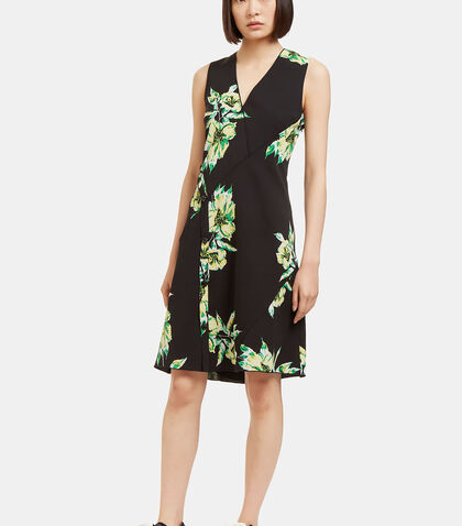 Lily Print Asymmetric Seam Dress