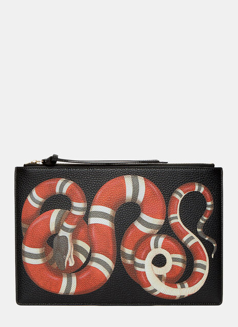 Snake Print Leather Pouch