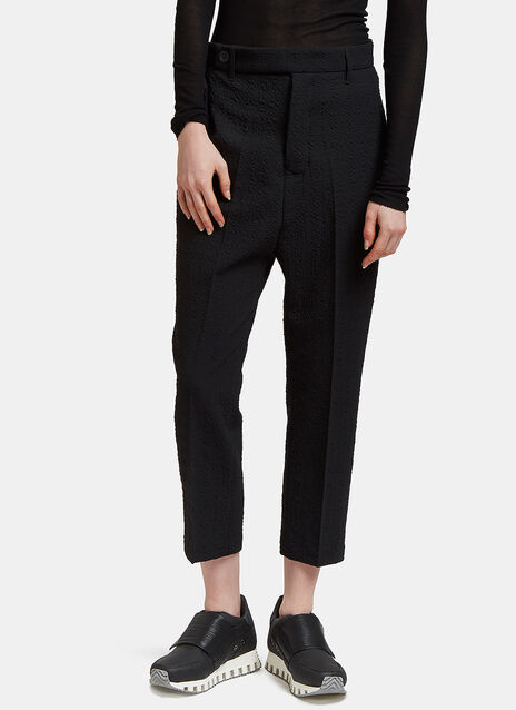 Seersucker Dropped Crotch Cropped Pants